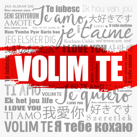 Volim te ( I Love You in Croatian) word cloud in different languages of the world 写真素材