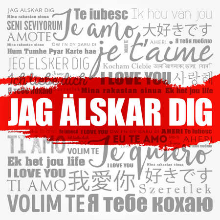 Jag alskar dig (I Love You in Swedish) in different languages of the world, word cloud background