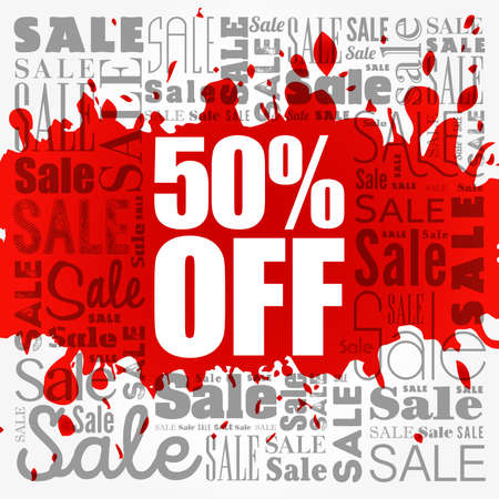 50% Off Sale word cloud collage, business concept background 写真素材