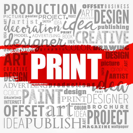 PRINT word cloud, creative business concept background