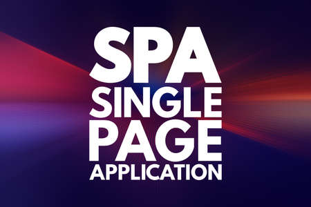 SPA - Single Page Application acronym, technology concept background