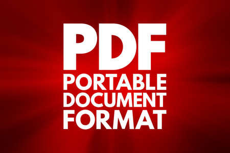 PDF - Portable Document Format acronym, technology concept background