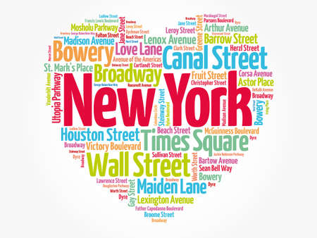 List of streets in New York City composed in love sign heart shape, word cloud collage, business and travel concept background Banco de Imagens - 157519069