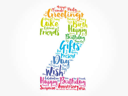 Happy 2nd birthday word cloud, holiday concept background