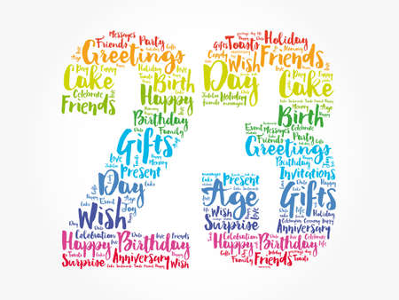 Happy 23rd birthday word cloud, holiday concept background