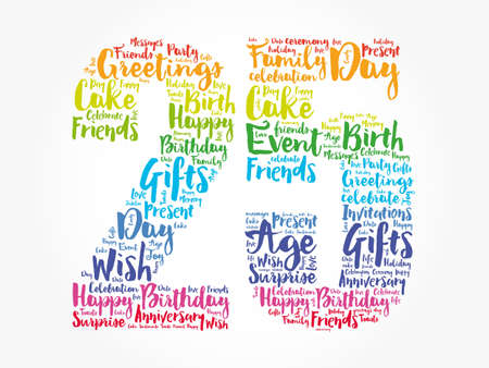 Happy 25th birthday word cloud, holiday concept background 写真素材