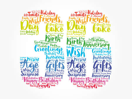Happy 36th birthday word cloud, holiday concept background Banco de Imagens