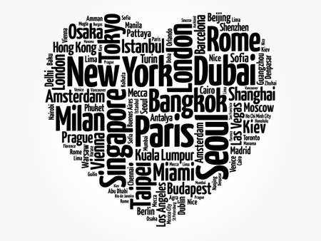 Top 100 International Tourist Destination Cities composed in love sign heart shape, word cloud collage, business and travel concept background 版權商用圖片