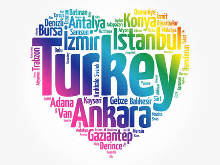 List of cities and towns in Turkey composed in love sign heart shape, word cloud collage, business and travel concept background Stock Photo