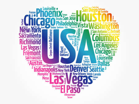 List of cities and towns in USA composed in love sign heart shape, word cloud collage, business and travel concept background Banque d'images