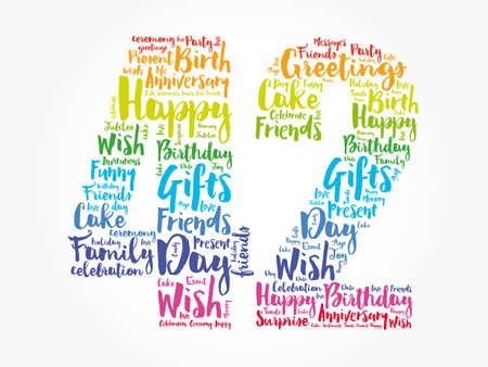 Happy 42nd birthday word cloud, holiday concept background Stock fotó