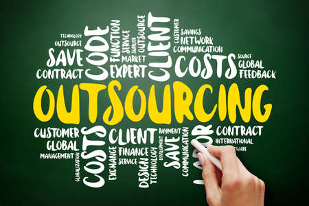 Outsourcing word cloud collage, business concept background