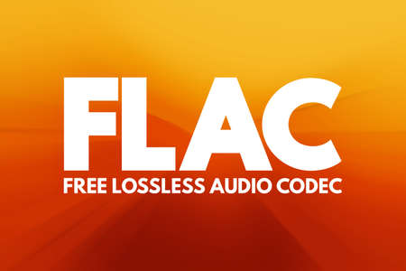 FLAC - Free Lossless Audio Codec acronym, technology concept background