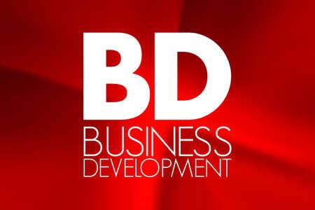 BD - Business Development acronym on red