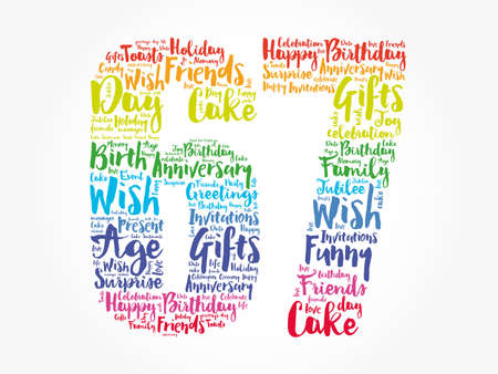 Happy 67th birthday word cloud, holiday concept background Reklamní fotografie
