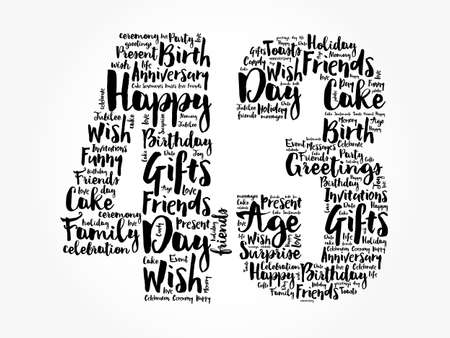 Happy 43rd birthday word cloud, holiday concept background