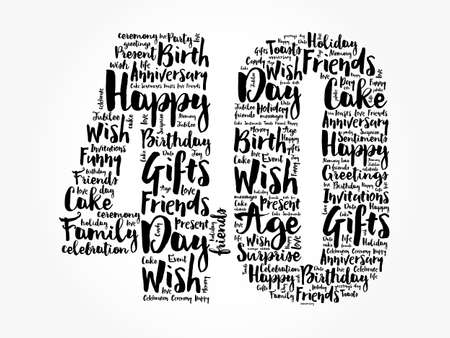 Happy 40th birthday word cloud, holiday concept background