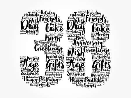 Happy 38th birthday word cloud, holiday concept background Stockfoto