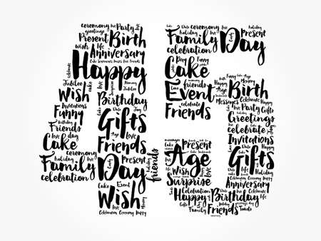 Happy 45th birthday word cloud, holiday concept background Stockfoto