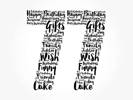 Happy 77th birthday word cloud, holiday concept background
