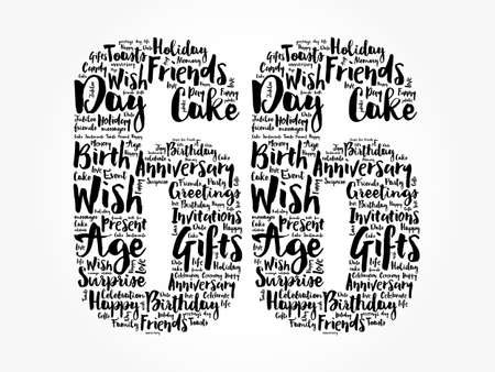 Happy 66th birthday word cloud, holiday concept background