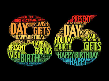Happy 86th birthday word cloud, holiday concept background Stock fotó