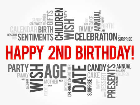 Happy 2nd birthday word cloud, holiday concept background Archivio Fotografico