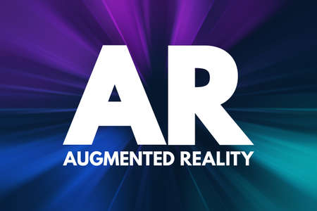 AR - Augmented Reality acronym, technology concept background