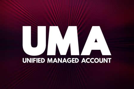 UMA - Unified Managed Account acronym, business concept background
