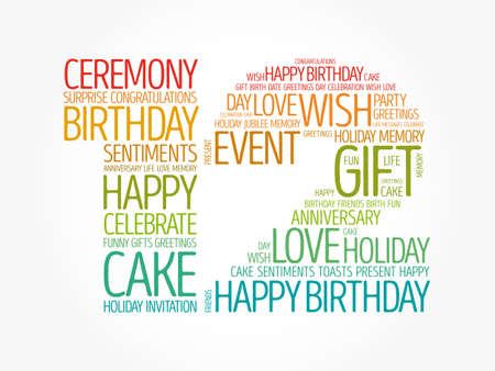 Happy 12th birthday word cloud, holiday concept background Banco de Imagens