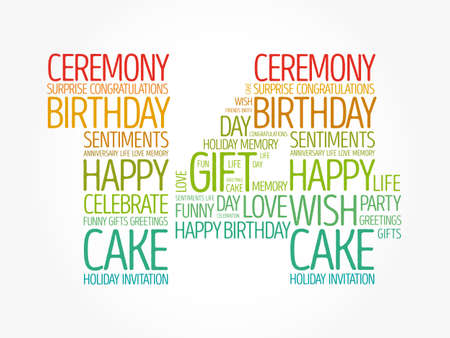 Happy 14th birthday word cloud, holiday concept background Banco de Imagens