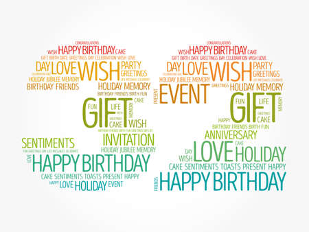 Happy 32nd birthday word cloud, holiday concept background
