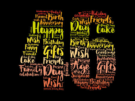 Happy 46th birthday word cloud, holiday concept background