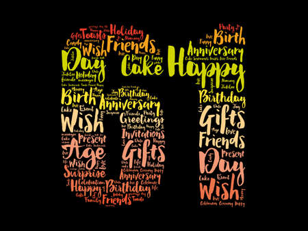 Happy 61st birthday word cloud, holiday concept background 스톡 콘텐츠