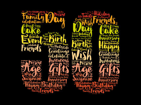 Happy 50th birthday word cloud, holiday concept background