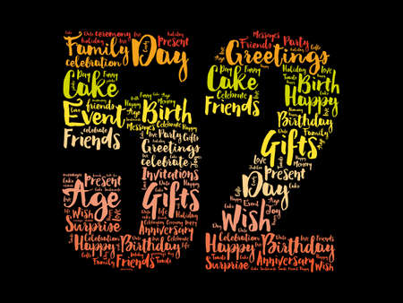 Happy 52nd birthday word cloud, holiday concept background
