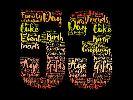 Happy 53rd birthday word cloud, holiday concept background 스톡 콘텐츠