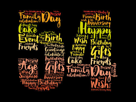 Happy 54th birthday word cloud, holiday concept background