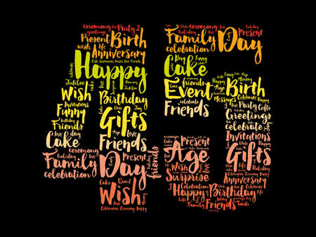 Happy 45th birthday word cloud, holiday concept background 스톡 콘텐츠