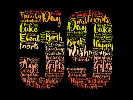 Happy 59th birthday word cloud, holiday concept background