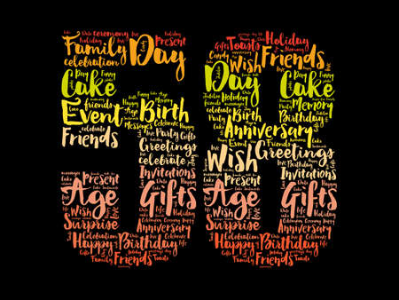 Happy 58th birthday word cloud, holiday concept background 스톡 콘텐츠
