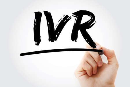 IVR - Interactive Voice Response acronym with marker, technology concept background
