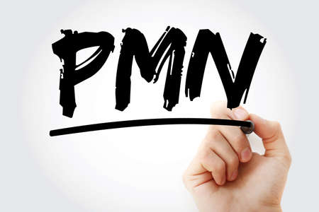 PMN - PolyMorphoNuclear acronym with marker, concept background
