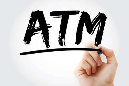 ATM - Automated Teller Machine acronym with marker, concept background