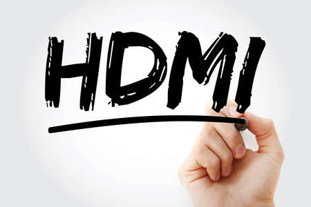 HDMI - High Definition Multimedia Interface acronym with marker, technology concept background Stock Photo