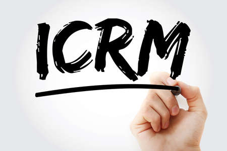 ICRM - Innovative Customer Relationship Management acronym with marker, business concept background