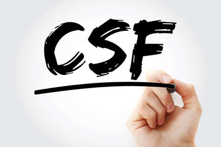 CSF - cerebrospinal fluid acronym with marker, concept background