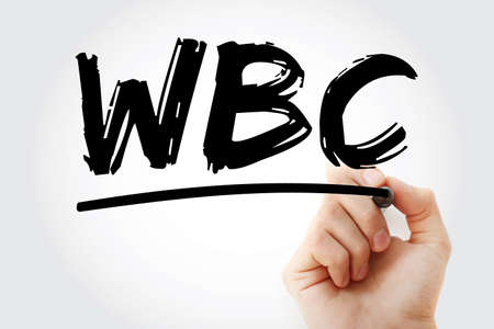 WBC - White Blood Cell acronym with marker, medical concept background