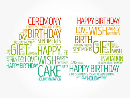 Happy 45th birthday word cloud, holiday concept background Banco de Imagens