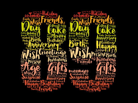 Happy 89th birthday word cloud, holiday concept background